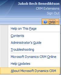 Select Help > About Microsoft Dynamics CRM