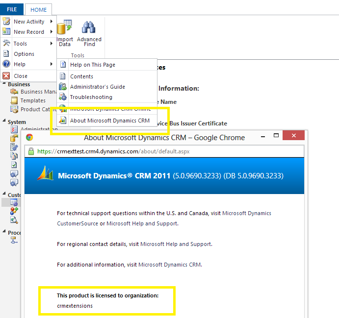File -> Help -> About Microsoft Dynamics CRM